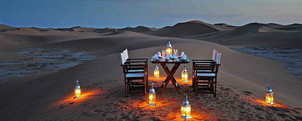 Azalai Desert Camp Zagora dinner with a view