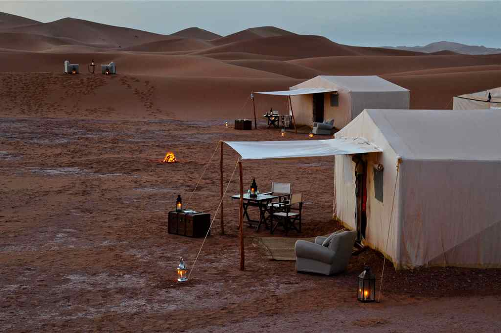 desert tents at night